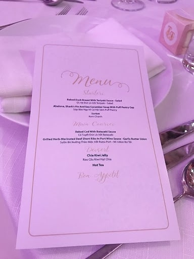 Thực đơn trong đám cưới hoa hậu Thu Thảo