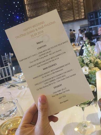 Thực đơn sang chảnh trong đám cưới Nhã Phương và Trường Giang